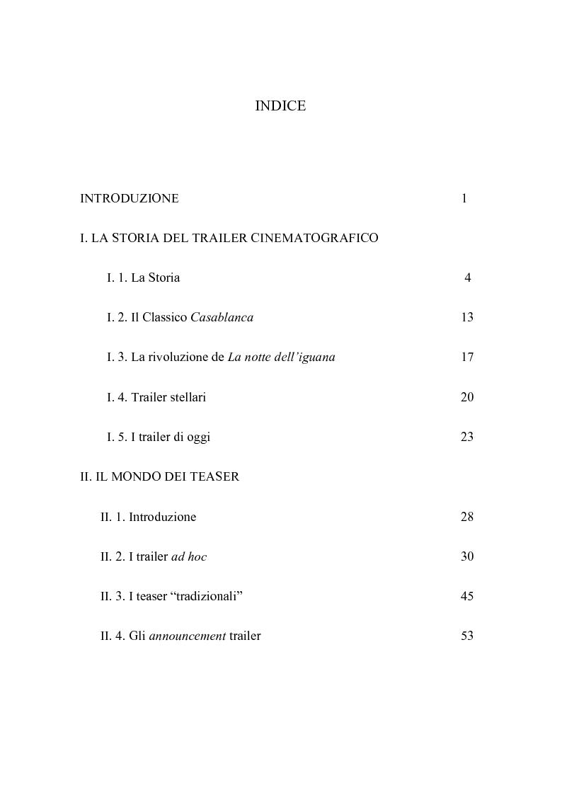 Indice della tesi: Prossimamente su questi schermi: tra memoria e marketing, Pagina 1