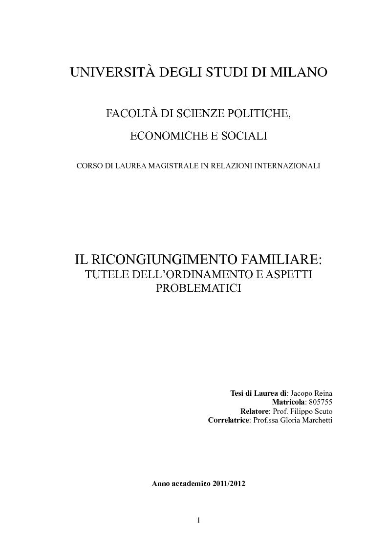 Anteprima della tesi: Il ricongiungimento familiare: tutele dell'ordinamento e aspetti problematici, Pagina 1