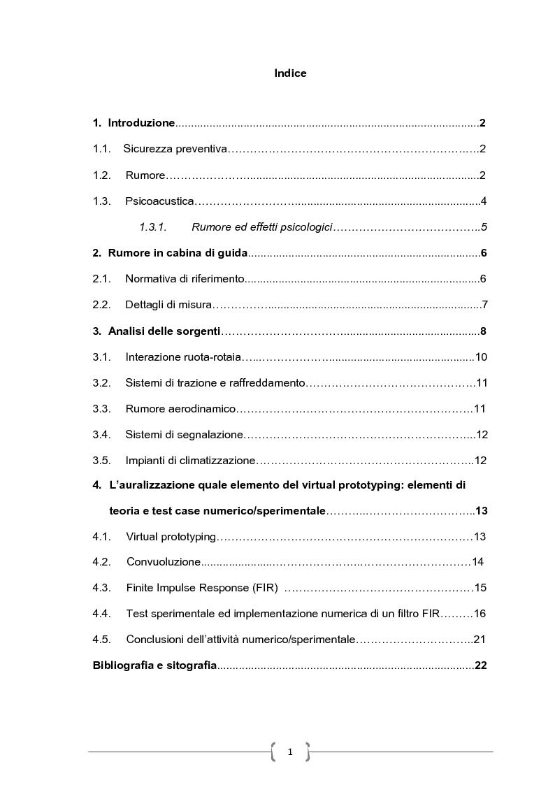 Indice della tesi: Metodologie innovative per l'analisi predittiva del rumore interno a veicoli ferroviari, Pagina 1