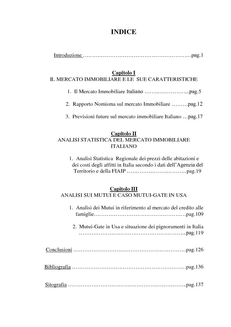 Indice della tesi: Analisi statistica sul mercato immobiliare, Pagina 1