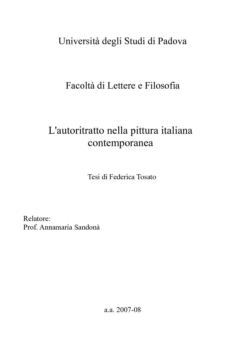 Anteprima della tesi: L'autoritratto nella pittura italiana contemporanea, Pagina 1