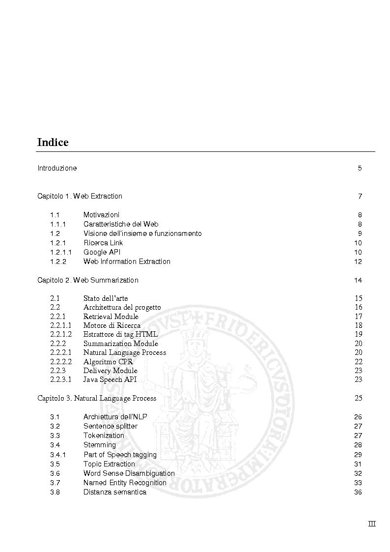 Indice della tesi: Progettazione e Implementazione di un sistema per la costruzione automatica di sommari a partire da pagine Web, Pagina 1