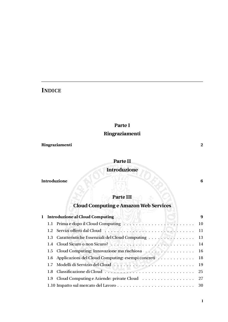 Indice della tesi: Una piattaforma adattativa in ambiente cloud per la transcodifica e per la memorizzazione di file video, Pagina 1