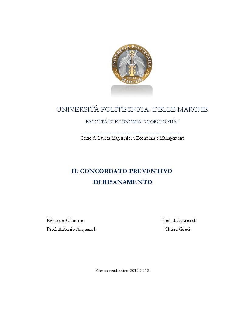 Anteprima della tesi: Il concordato preventivo di risanamento, Pagina 1