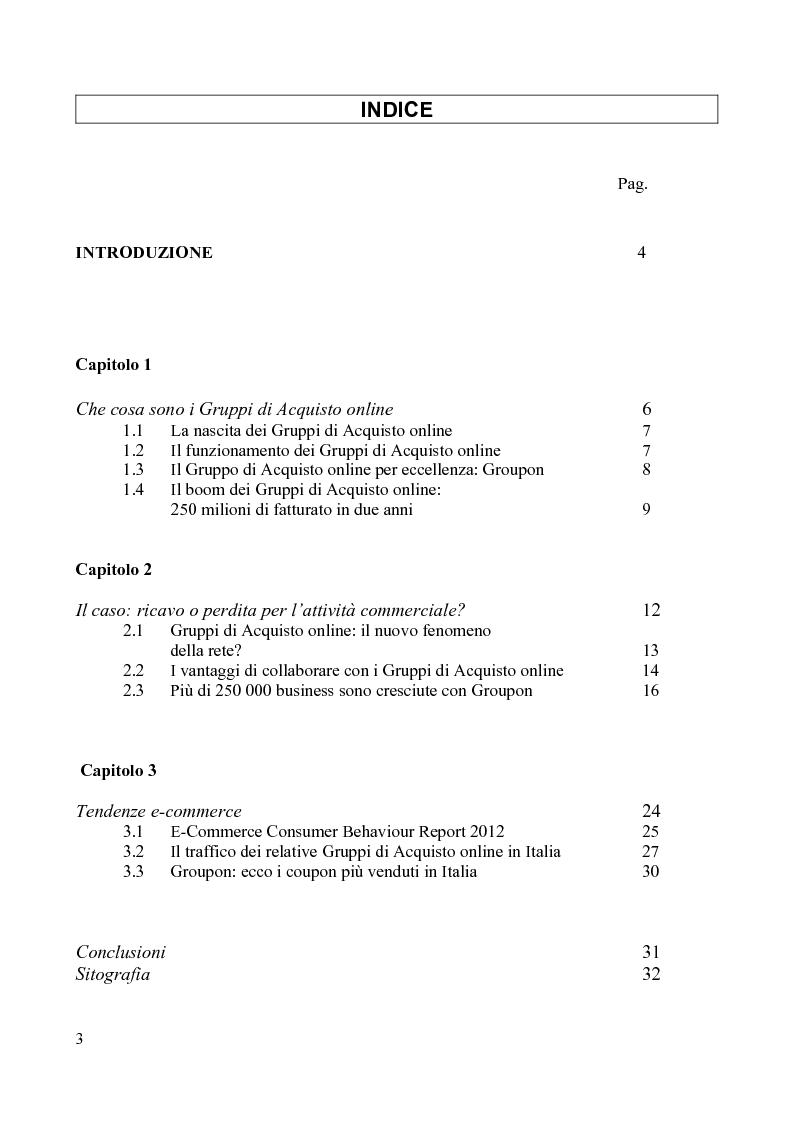 Indice della tesi: I gruppi di acquisto online: il nuovo investimento pubblicitario. Il caso: ricavo o perdita per l'attività commerciale?, Pagina 1