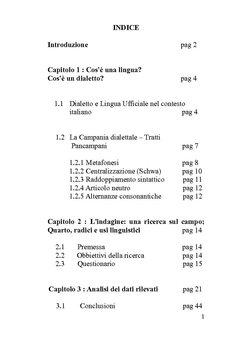 Indice della tesi: Quarto e il continuum dialetto - italiano, Pagina 1