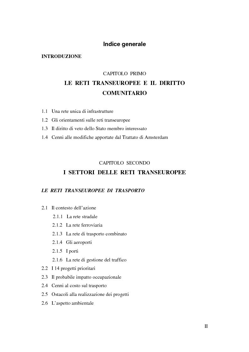 Indice della tesi: La funzione delle reti transeuropee nel quadro della costruzione europea, Pagina 1