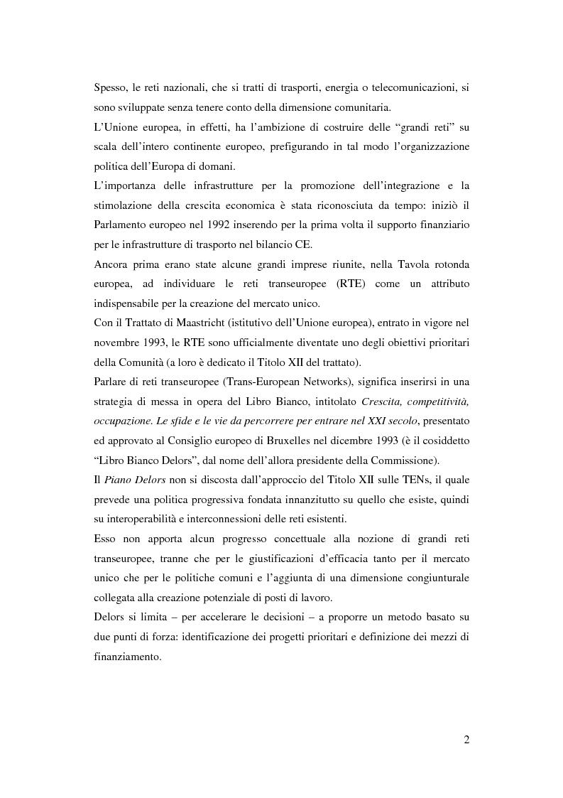 Anteprima della tesi: La funzione delle reti transeuropee nel quadro della costruzione europea, Pagina 2