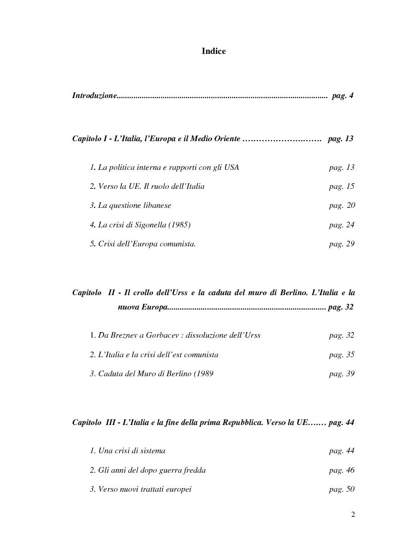 Indice della tesi: La politica estera italiana negli anni '80, Pagina 1