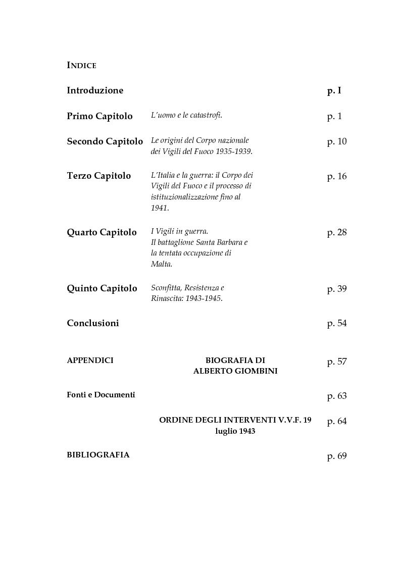 Indice della tesi: UBI DOLOR IBI VIGILES. Il Corpo Nazionale dei Vigili del Fuoco dal 1935 al 1945, Pagina 1