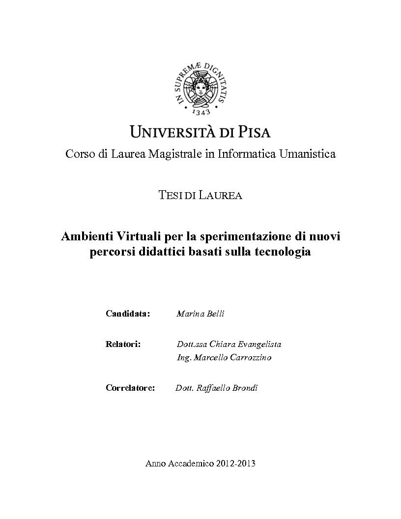 Anteprima della tesi: Ambienti Virtuali per la sperimentazione di nuovi percorsi didattici basati sulla tecnologia, Pagina 1