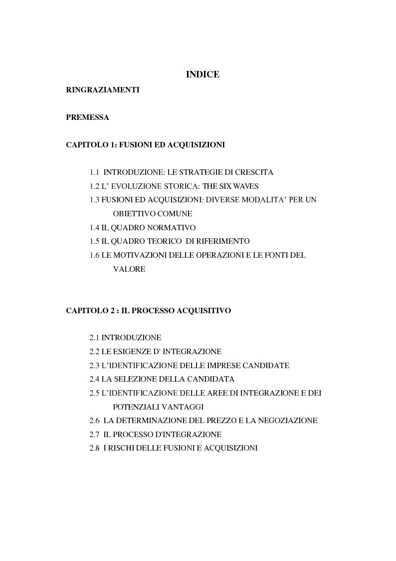 Indice della tesi: La gestione del processo acquisitivo e l'effetto esperienza, Pagina 1