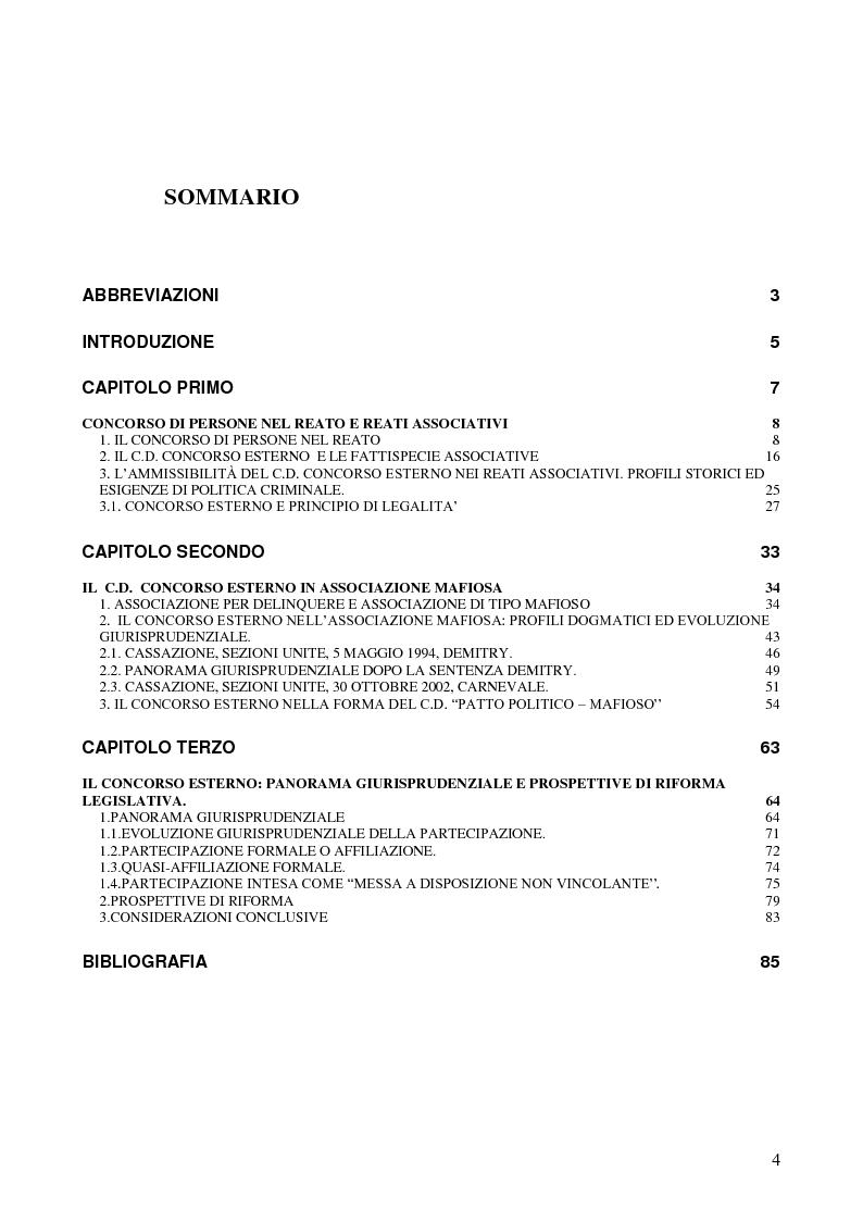 Indice della tesi: Il concorso esterno in associazione mafiosa, Pagina 1