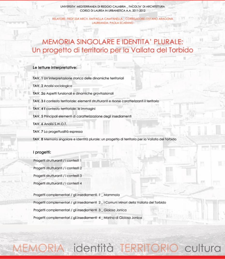Indice della tesi: Memoria singolare e identità plurale: un progetto di territorio per la Vallata del Torbido, Pagina 1