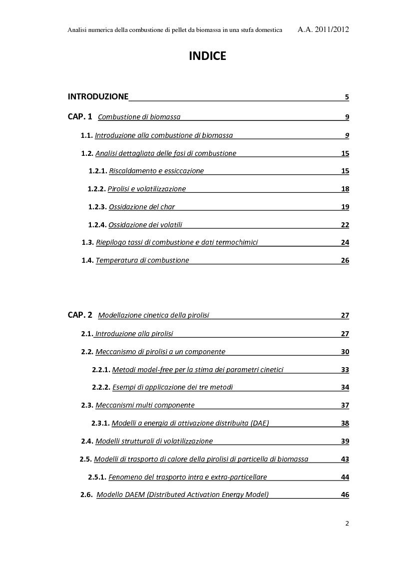 Indice della tesi: Analisi Numerica della Combustione di Pellet da Biomassa in una Stufa Domestica, Pagina 1