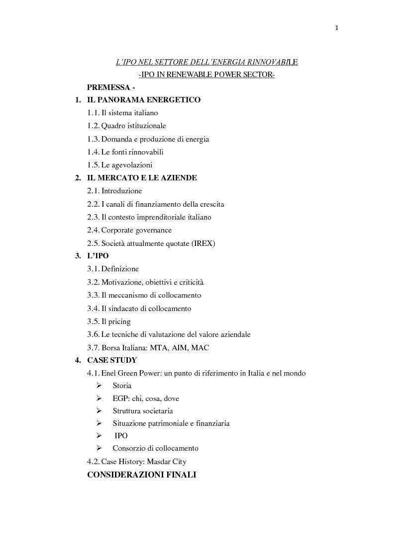 Indice della tesi: L'IPO nel settore dell'energia rinnovabile, Pagina 1