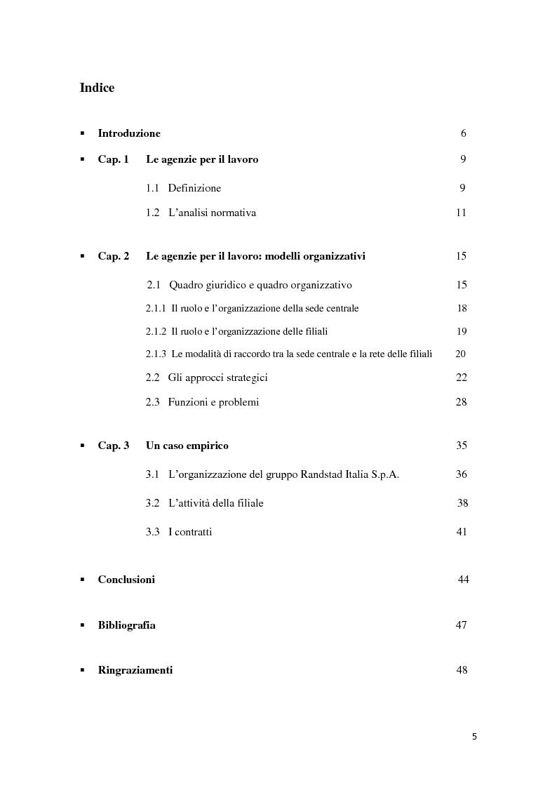 Indice della tesi: Le agenzie interinali: risorse e modelli organizzativi, Pagina 1
