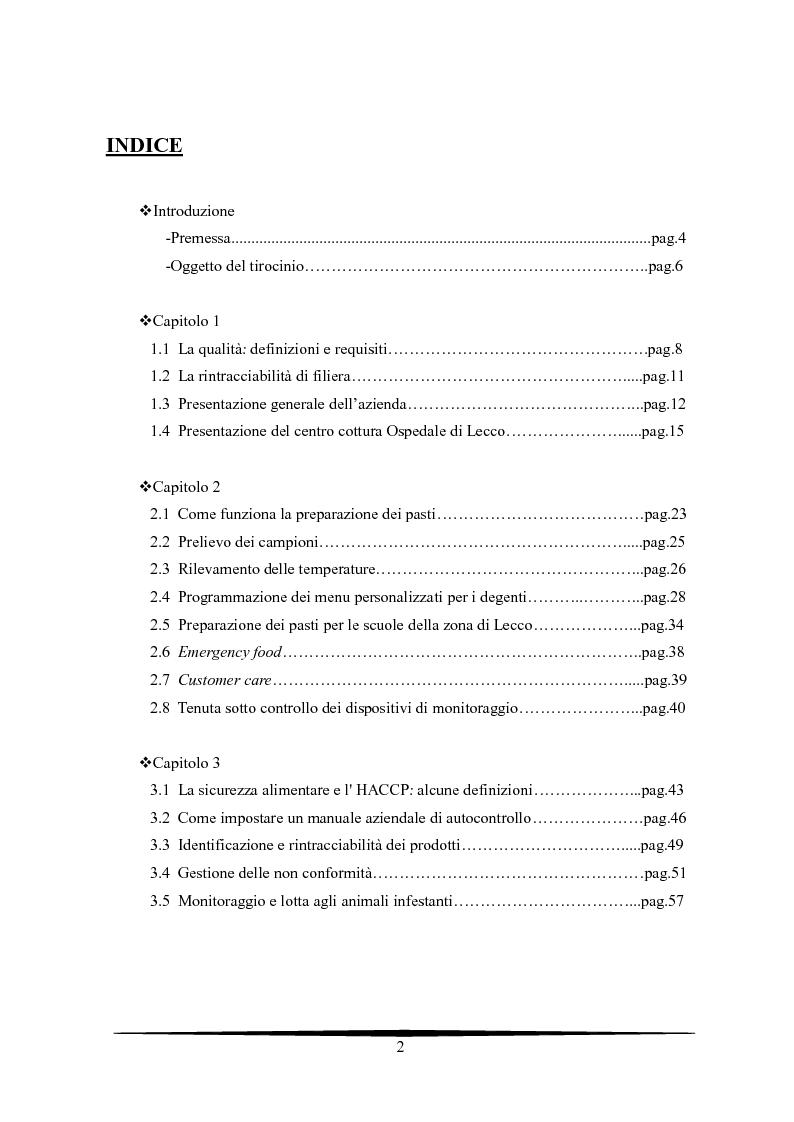 Indice della tesi: La sicurezza e la qualità in un centro di cottura di ristorazione ospedaliera, Pagina 1