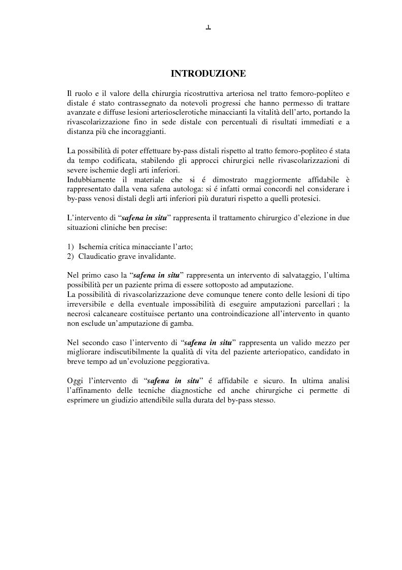 Anteprima della tesi: Il by-pass femoro distale con vena, Pagina 1