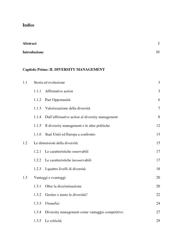 Indice della tesi: Diversity Management: la gestione delle diversitá nelle organizzazioni , Pagina 1
