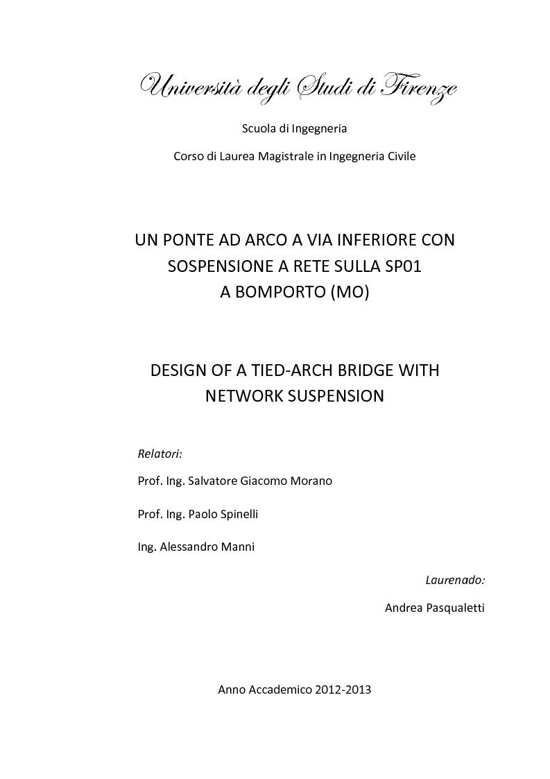 Anteprima della tesi: Un ponte ad arco a via inferiore con sospensione a rete sulla SP01 a Bomporto (MO), Pagina 1