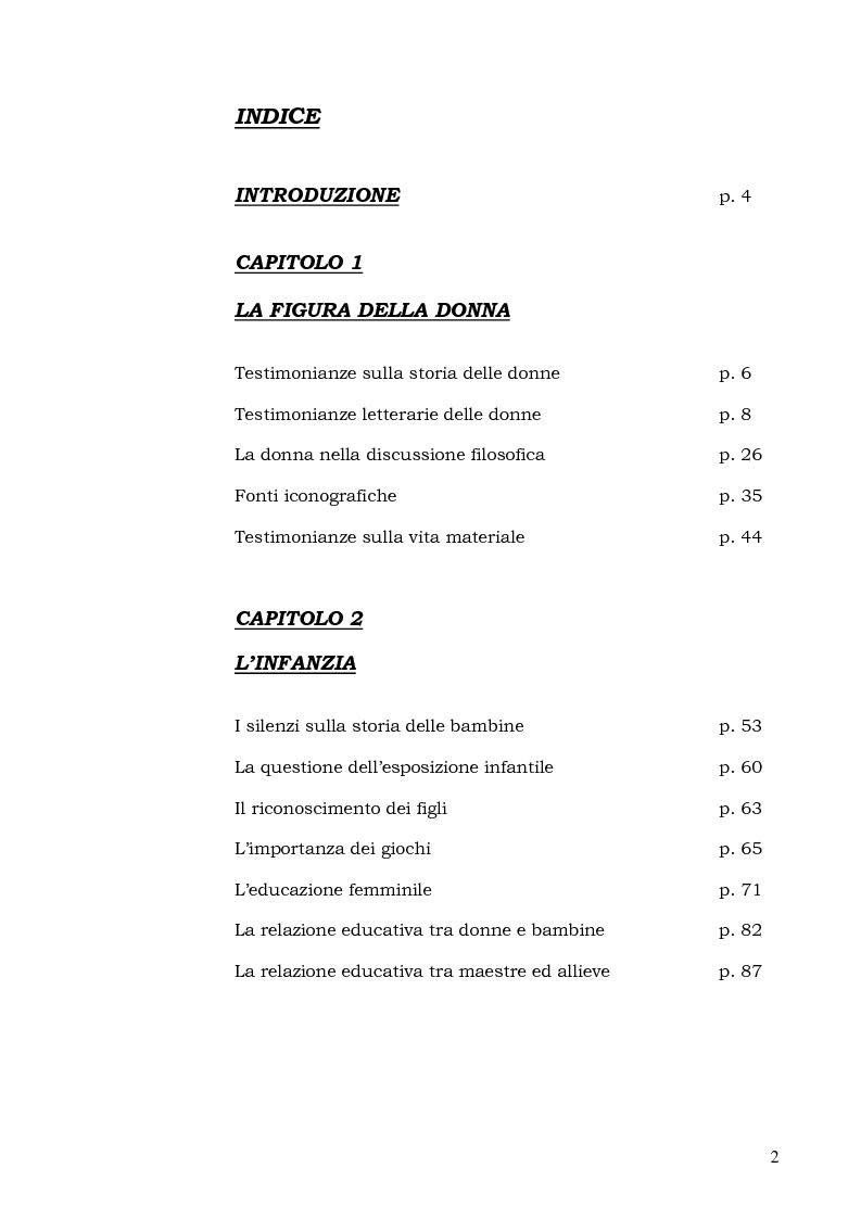 Indice della tesi: Dalla culla alle nozze: percorsi di vita femminile nella Grecia antica, Pagina 1