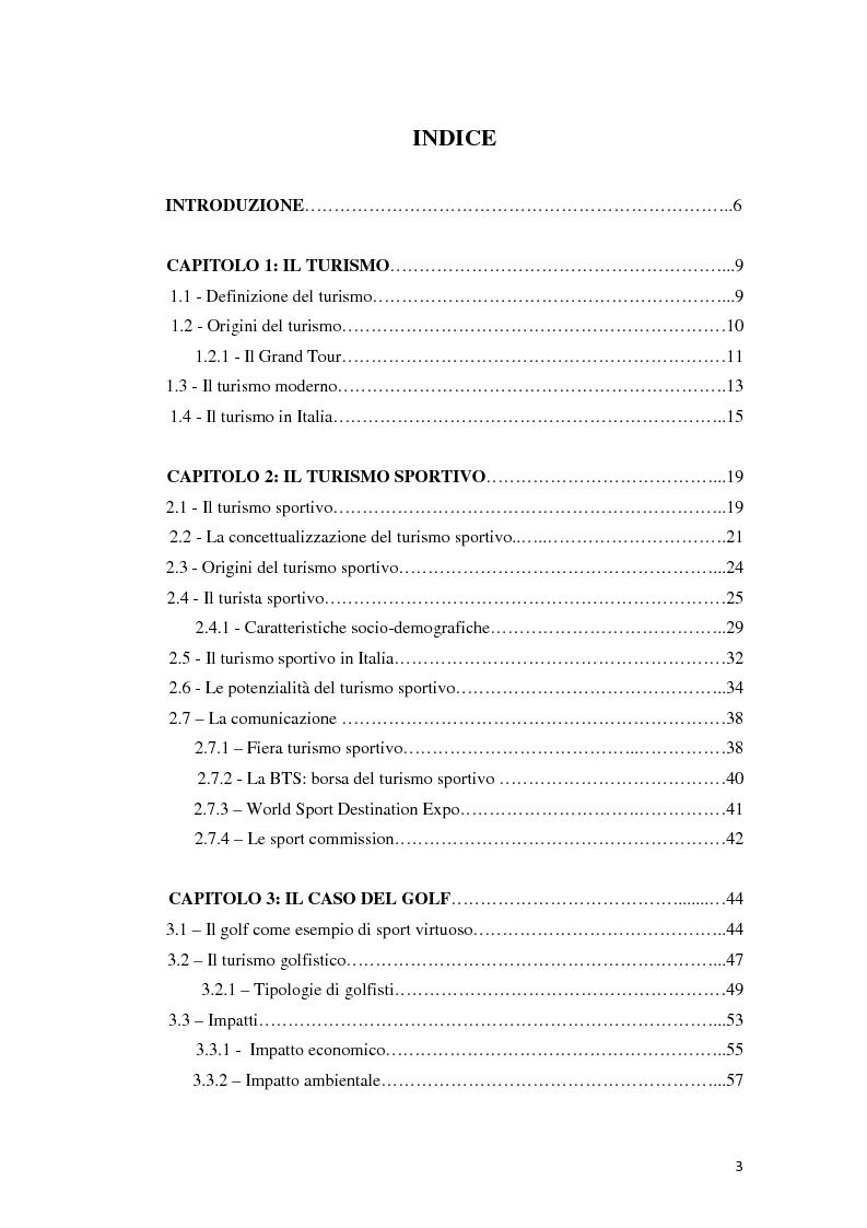 Indice della tesi: Nuove frontiere del turismo. Turismo sportivo, il caso del golf, Pagina 1