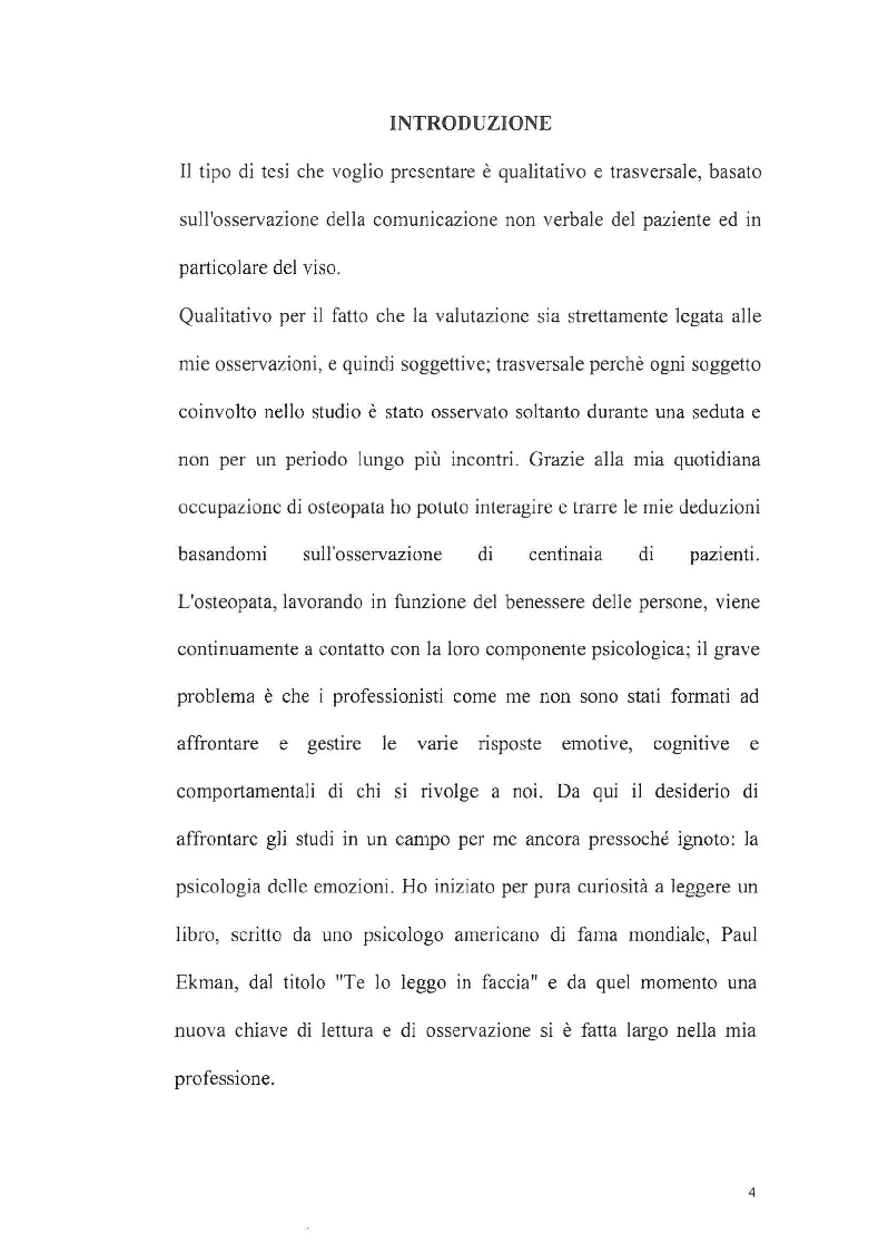 L'applicazione delle teorie di Paul Ekman nell'intervista osteopatica e durante il trattamento - Tesi di Laurea