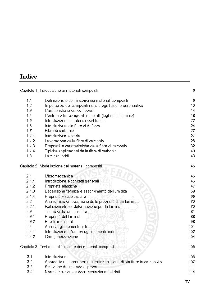 Indice della tesi: Prove sperimentali su materiali compositi in fibra di carbonio e calcolo degli ammissibili, Pagina 1