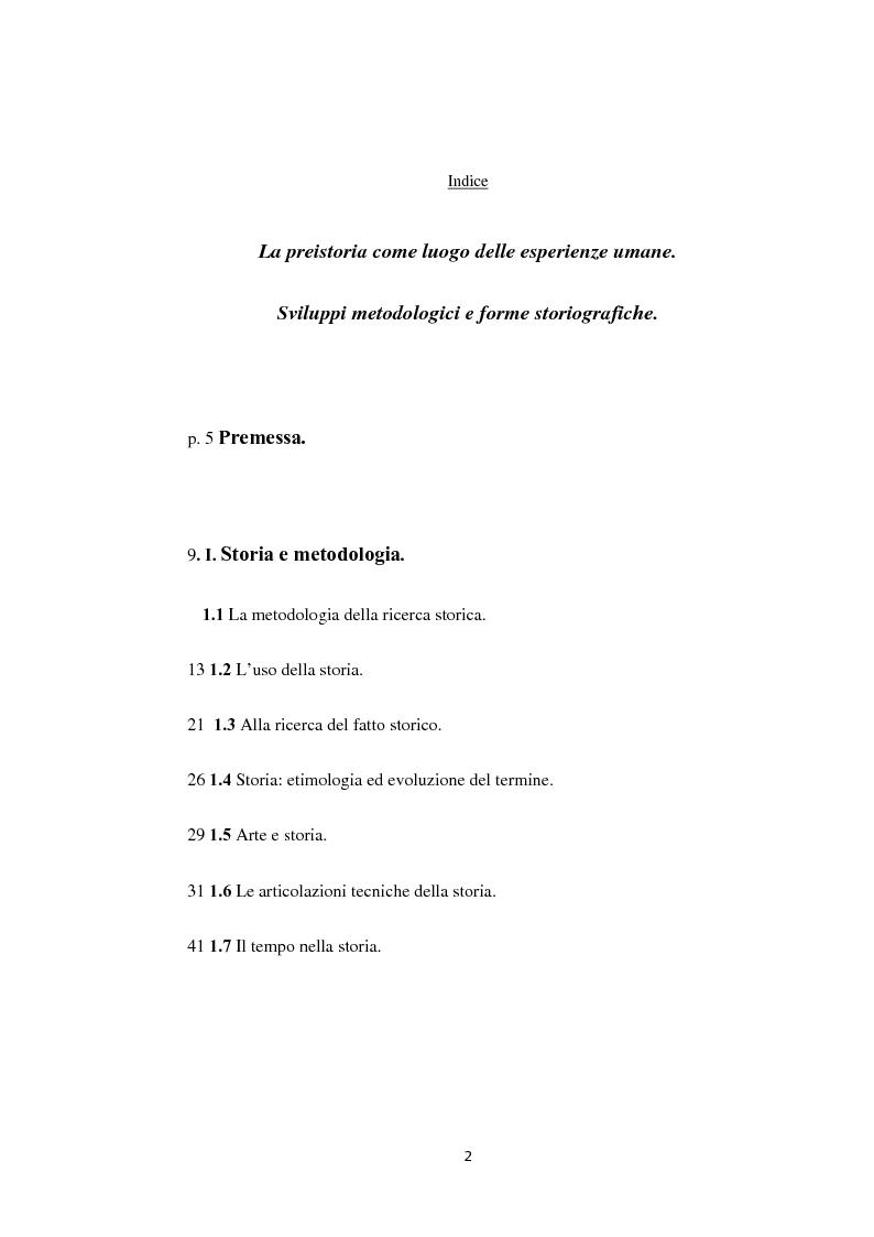 Indice della tesi: La preistoria: il luogo delle esperienze umane. Sviluppi metodologici e forme storiografiche, Pagina 1