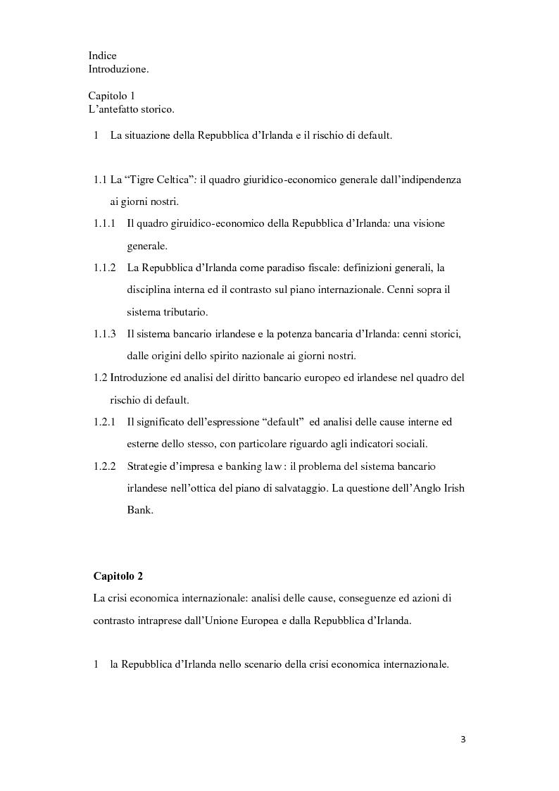 Indice della tesi: Il piano di salvataggio della repubblica d'Irlanda dalla crisi economica: il piano di riforma 2011-2014, Pagina 1