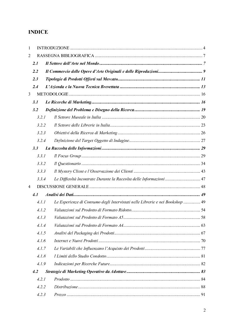 Indice della tesi: Il Ruolo della Ricerca di Marketing nella Fase di Lancio di un Nuovo Prodotto nel Mercato dell'Arte: Il Caso ReliefArt della Progetto Leonardo S.a.s., Pagina 1