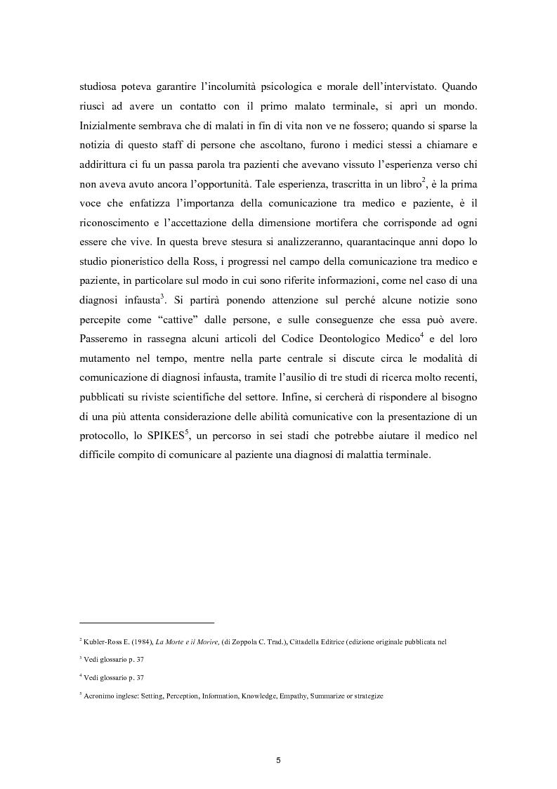 Anteprima della tesi: Il difficile compito del medico: La comunicazione della diagnosi di malattia terminale, Pagina 3