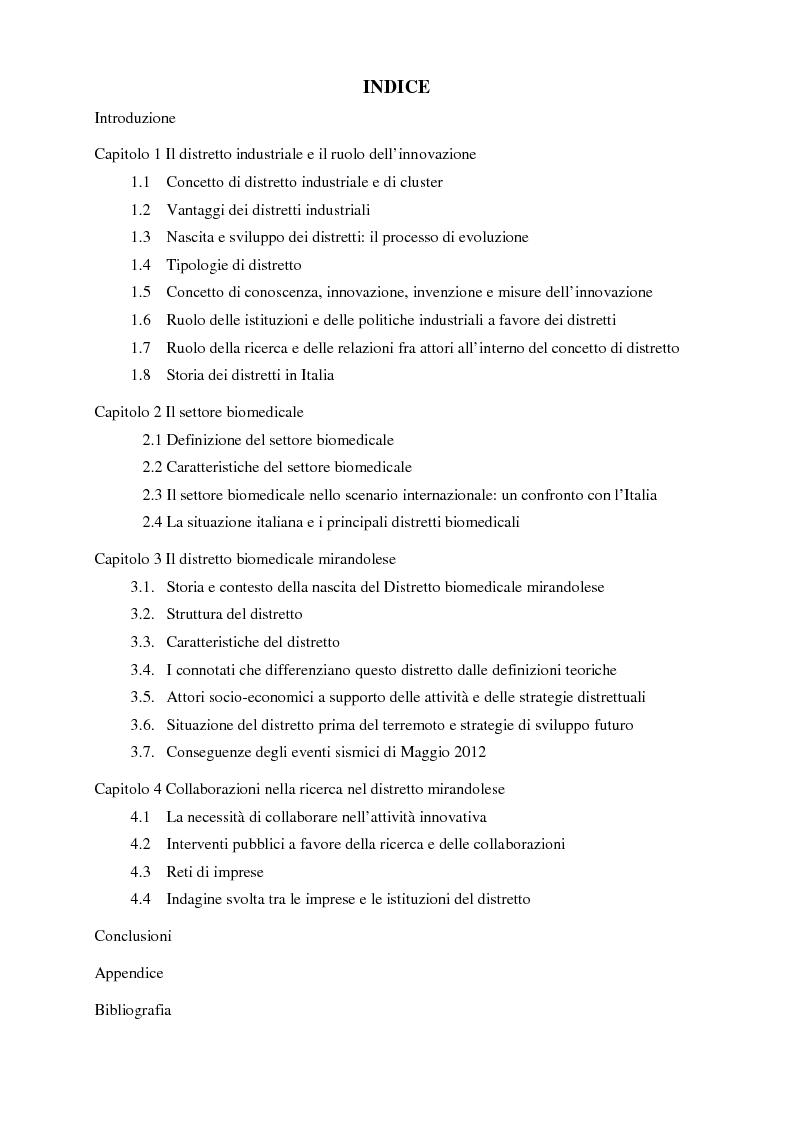 Indice della tesi: Il distretto biomedicale mirandolese. Analisi dei flussi di conoscenza esterni alle imprese del distretto, Pagina 1