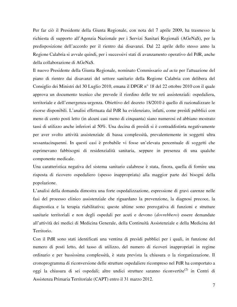 Estratto dalla tesi: La riorganizzazione della rete ospedaliera nella Regione Calabria. Il ruolo strategico dell'elisoccorso nella pianificazione del riordino assistenziale secondo la metodologia del Percorso Assistenziale e la logica Hub & Spoke
