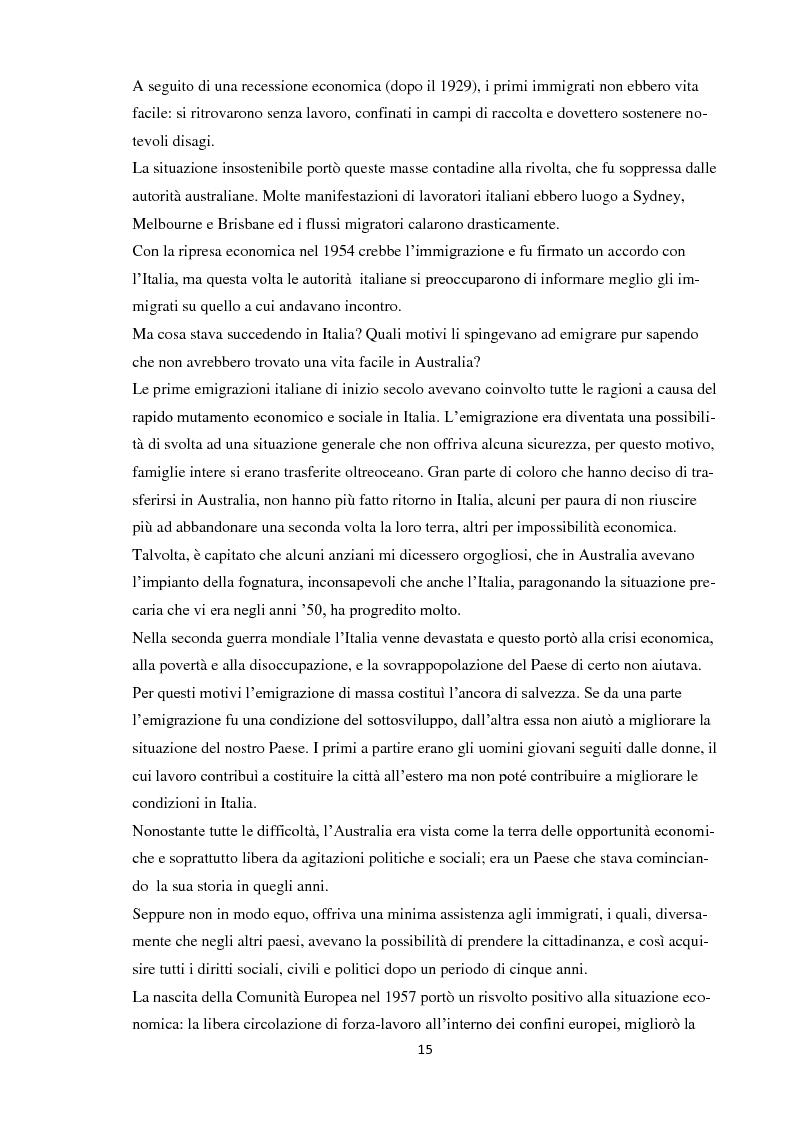 Estratto dalla tesi: Immigrazione italiana in Australia e il fenomeno dell'australitaliano