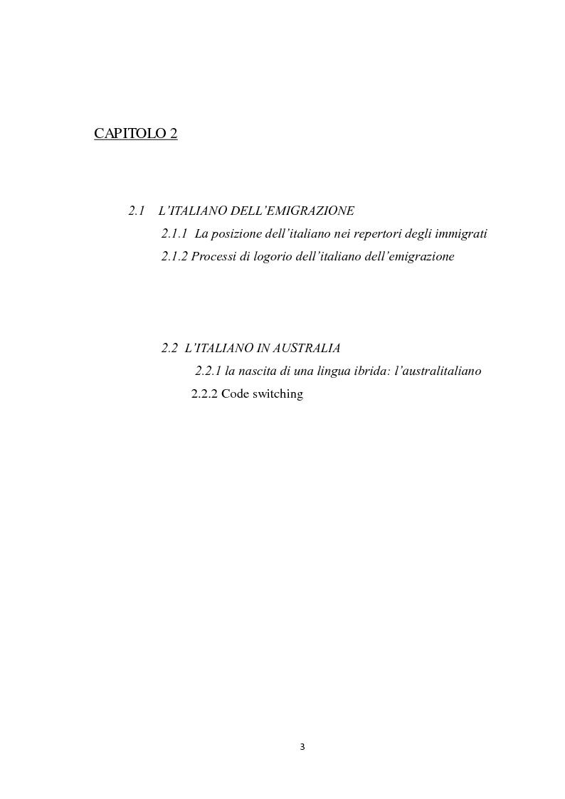 Indice della tesi: Immigrazione italiana in Australia e il fenomeno dell'australitaliano, Pagina 2
