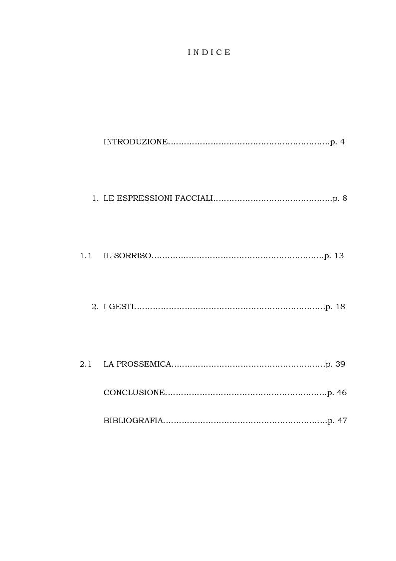 Indice della tesi: Il linguaggio del corpo, Pagina 1