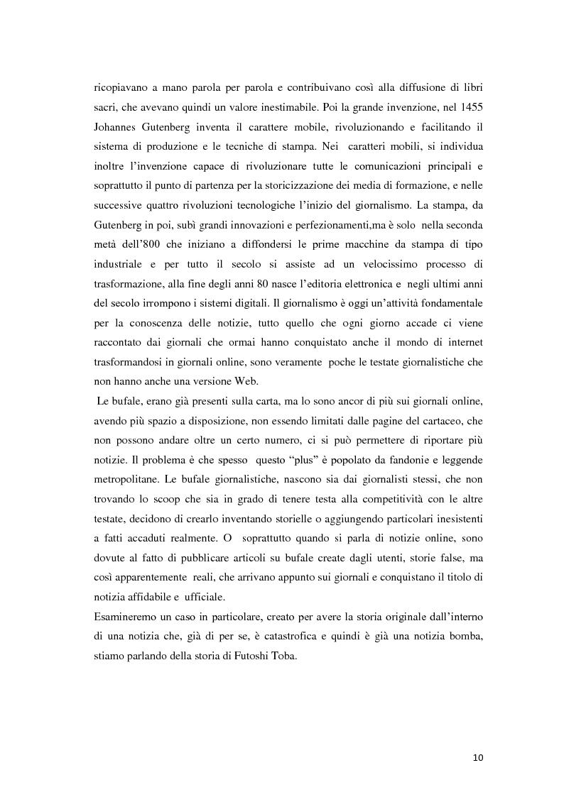 Estratto dalla tesi: Bufala 2.0, l'inganno nella comunicazione online