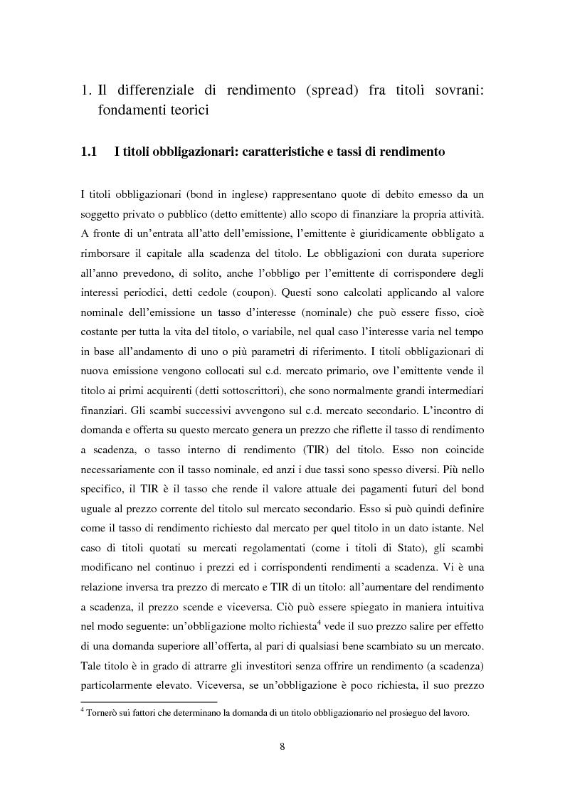 Il differenziale di rendimento fra titoli sovrani italiani e tedeschi. Un'analisi econometrica delle sue determinanti - ...