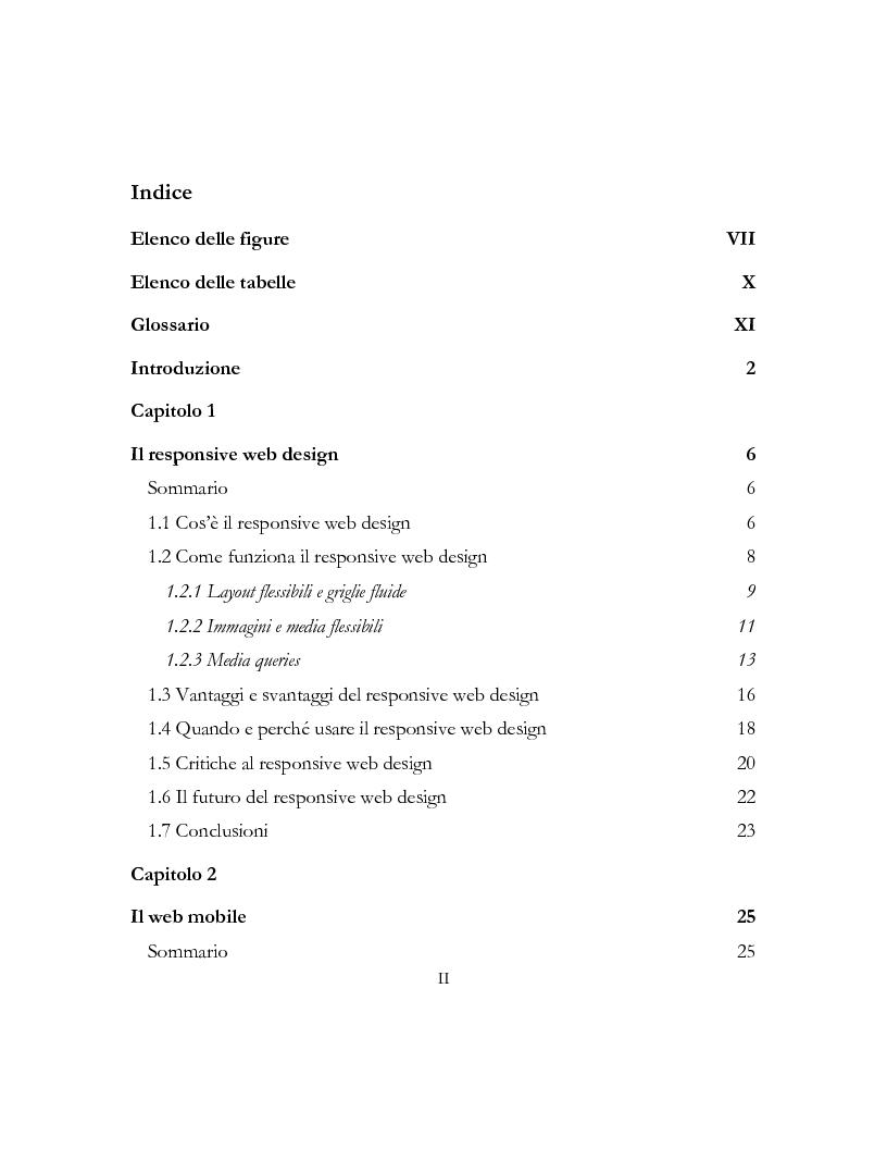 Indice della tesi: Il Responsive Web Design per le organizzazioni non profit, Pagina 1