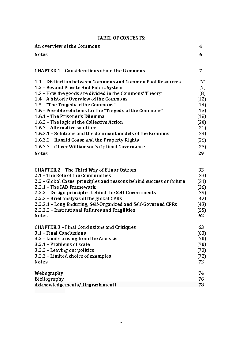 Indice della tesi: Review to Elinor Ostrom's Book ''Governing the Commons'', Pagina 1
