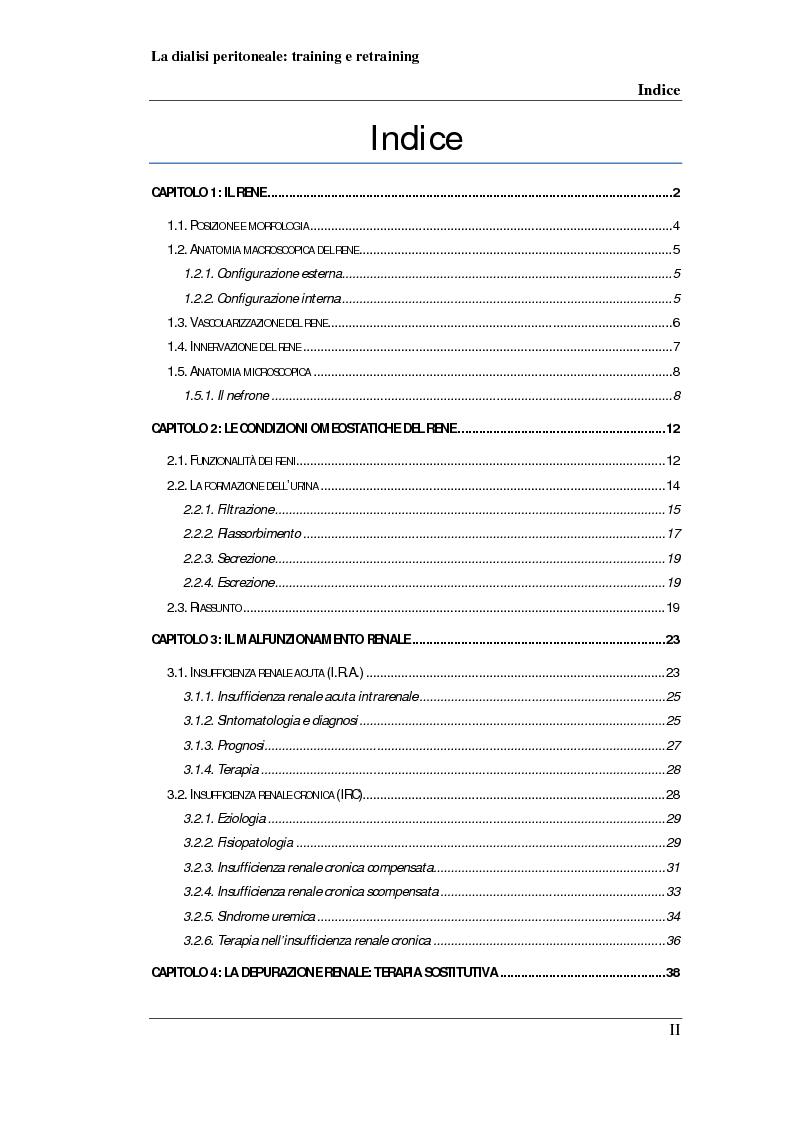 Indice della tesi: Dialisi peritoneale: training e retraining, Pagina 1