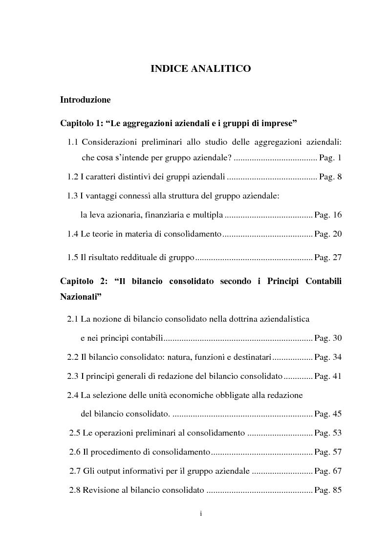 Indice della tesi: Il bilancio consolidato e il consolidato fiscale: analisi di un caso aziendale, Pagina 1