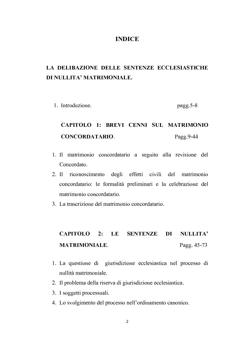 Indice della tesi: La delibazione delle sentenze ecclesiastiche di nullità matrimoniale, Pagina 1