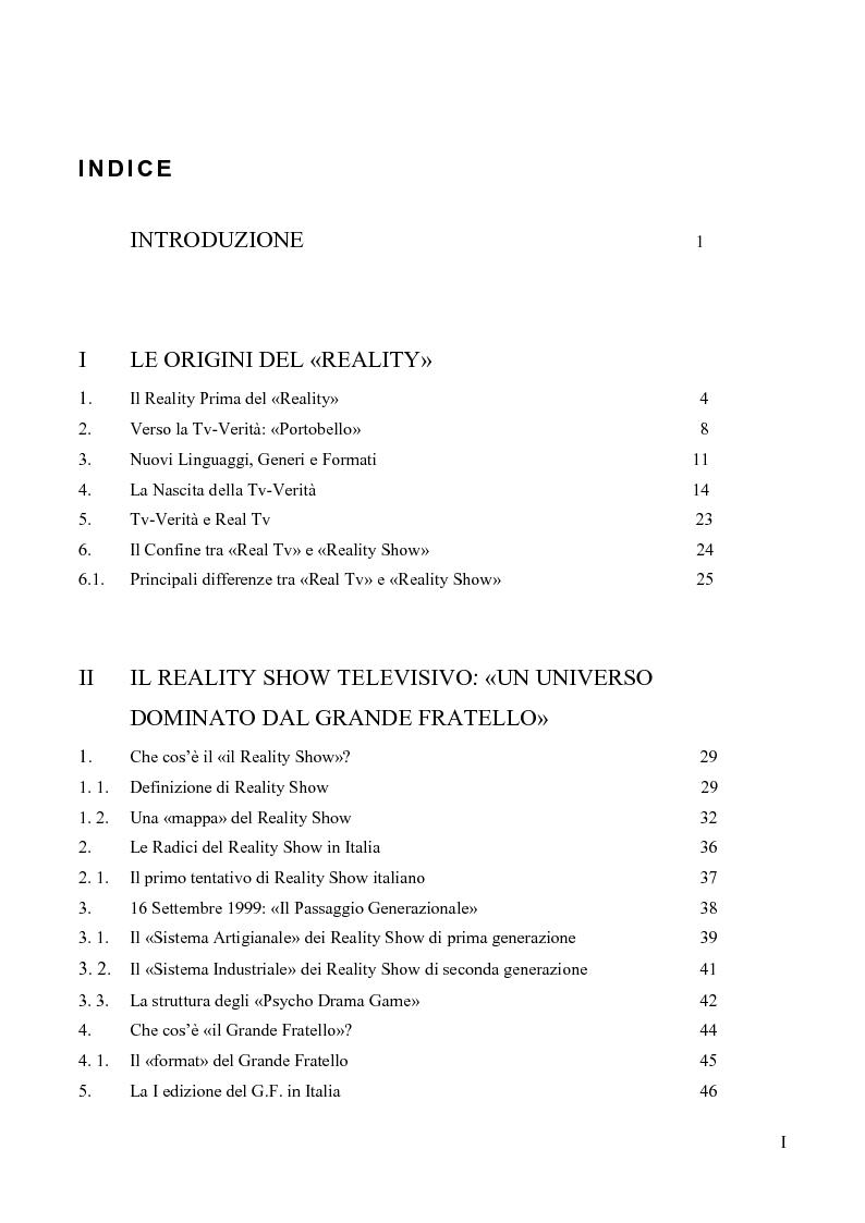 """Indice della tesi: L'evoluzione storica del """"Grande Fratello"""": da format a genere televisivo, Pagina 1"""