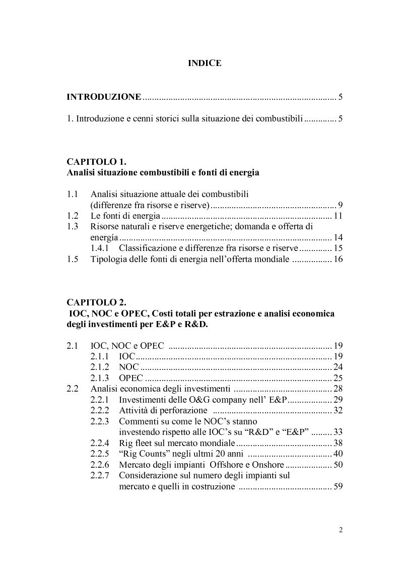 Indice della tesi: I giacimenti petroliferi: analisi tecniche ed economiche, Pagina 1