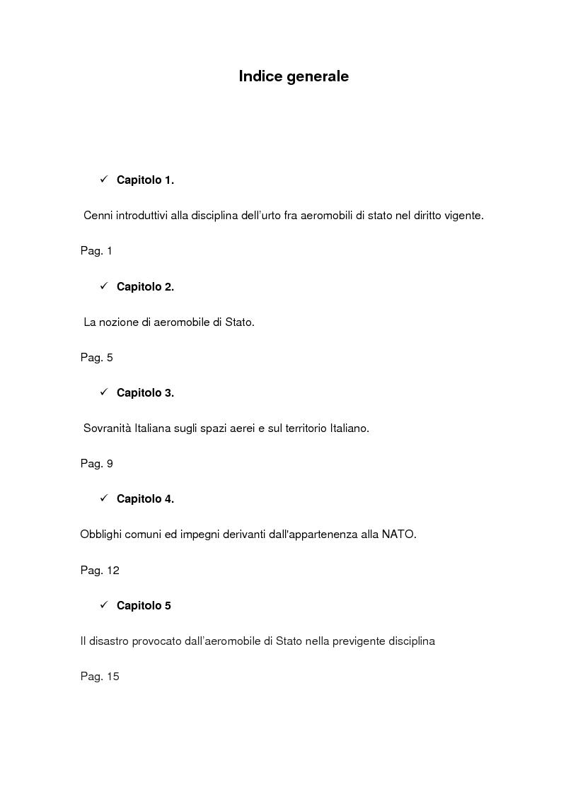 Indice della tesi: I danni ai terzi sulla superficie cagionati dagli aeromobili di Stato, Pagina 1