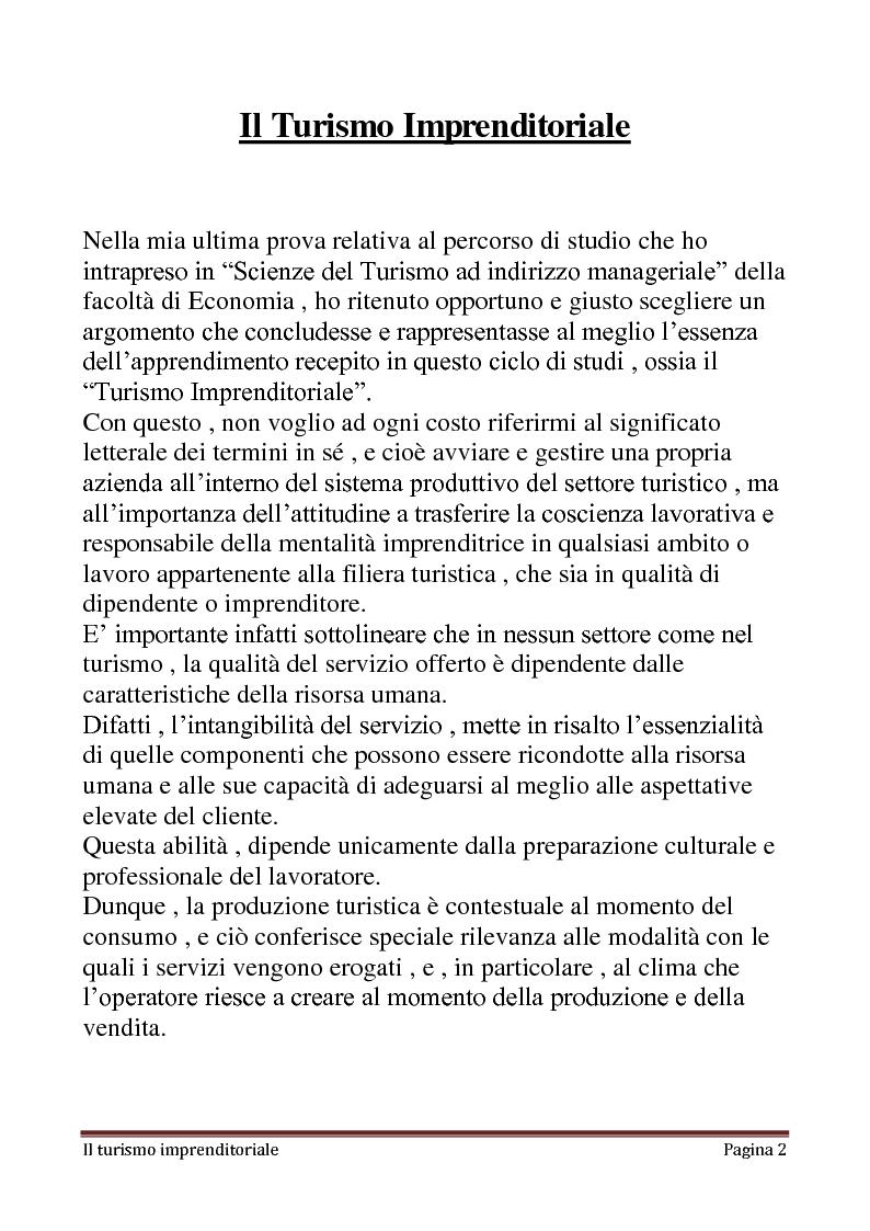 Il Turismo Imprenditoriale - Elementi strategici, politici e manageriali del turismo - Tesi di Laurea