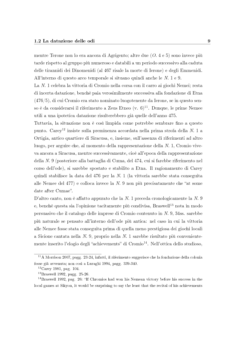 Estratto dalla tesi: Mito e attualità nelle odi pindariche per Cromio di Etna (N. 1 e N. 9)